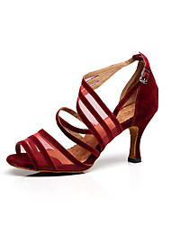 "cheap -Women's Latin Dance Sneakers Lace Sandal Indoor Professional Beginner Practice Buckle Stiletto Heel Black Brown Red 2"" - 2 3/4"""
