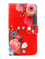 cheap -Red Flower Pattern PU Leather Full Body Case with Stand and Card Slot for Wiko Lenny 2 Lenny 3 Sunset 2