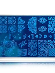 unha arte carimbar modelos com transferência polonês pad flor branca da beleza da forma de impressão de carimbo placas prego selo