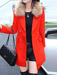 Manteau Femme,Couleur Pleine Grandes Tailles Chic de Rue Manches Longues Revers Cranté Rose / Orange Polyester Epais Hiver