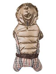 Chien Manteaux Pulls à capuche Combinaison-pantalon Vêtements pour Chien Garder au chaud Coupe-vent Mode Tartan Beige Marron Costume Pour