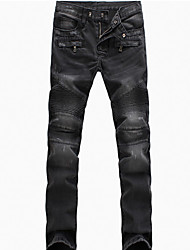 cheap -Brand Fashion Men's Solid Blue / Black Jeans / Chinos PantsCasual Spring / Fall Hot Sale Demin Pants