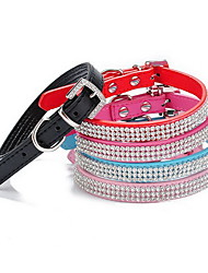 cheap -Cat / Dog Collar Adjustable/Retractable / Rhinestone Solid Red / Black / Blue / Pink PU Leather