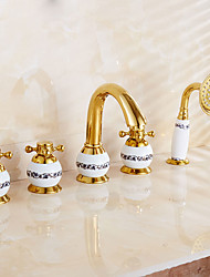 anticato ti-PVD tre fori manico unico cascata rubinetto vasca con doccetta