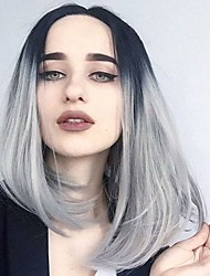 High Quality Silk Straight Omber Turn Black To Sliver Gray Bob Synthetic Hair Lady's Wig Free Wig Cap 1