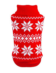 cheap -Cat Dog Sweater Christmas Dog Clothes New Year's Snowflake Red Blue Costume For Pets