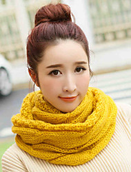 cheap -Men and women Vintage Casual Work Pure Color Wool Knit Scarf College wind neckerchief