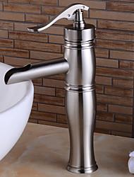 baratos -Clássica Pia Sensor Válvula Cerâmica Uma Abertura Monocomando e Uma Abertura Níquel Escovado, Torneira pia do banheiro