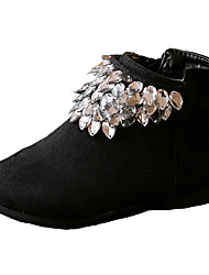 Girl's Boots Fall Winter Comfort Fabric Dress Casual Flat Heel Zipper Black Red Walking