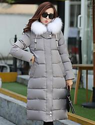 preiswerte -Damen Gefüttert Mantel,Standard Einfach Lässig/Alltäglich / Übergröße Solide-Andere Polyester Langarm Blau / Schwarz / Grau / Grün