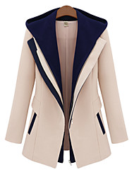 cheap -Women's Daily Simple Casual Winter Fall Long Jacket, Color Block Hooded Rayon Polyester