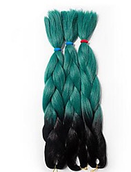 cheap -Jumbo Hair Braid Havana Crochet Ombre Braiding Hair 100% Kanekalon Hair Black/Green Black/Purple Black/Blue Black/Red Black/Grey 24""