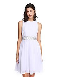 2017 ts Couture® bal cocktail robe d'une ligne bijou genou en mousseline de soie avec des perles / drapage