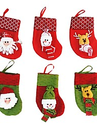 6Pcs/lot Christmas Tree Decorations Santa Claus&Snowman&Deer Christmas Stockings(Random Color)