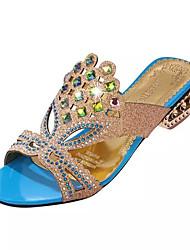 Недорогие -Жен. Обувь Полиуретан Лето Удобная обувь Сандалии На толстом каблуке Каблук с хрустальной отделкой Заостренный носок Кристаллы для Для