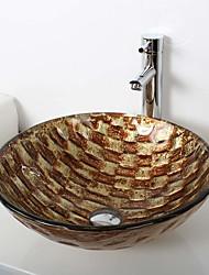 Contemporaneo T12*Φ420*H145MM Tondo Materiale del dissipatore è VetrotemperatoLavandino bagno / Rubinetto per bagno / Anello di