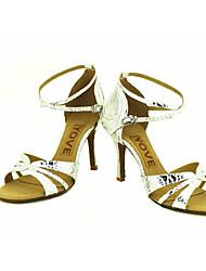 cheap -Women's Latin Salsa Sparkling Glitter Leatherette Sandal Heel Performance Professional Buckle Ribbon Tie Customized Heel Silver