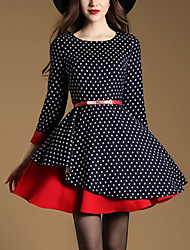 Women's Casual/Daily Sophisticated Sheath Dress,Polka Dot Patchwork Round Neck Mini Cotton Spring Fall Mid Rise Micro-elastic Medium