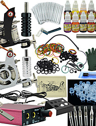 cheap -OPHIR Tattoo Machine Starter Kit 2 rotary machine liner & shader Mini power supply 2 x aluminum grip 50 pcs Tattoo Needles