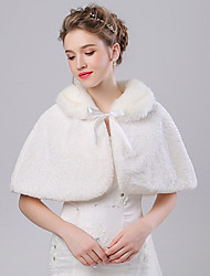 Faux Fur Imitation Cashmere Wedding Party Evening Women's Wrap With Pattern Capelets
