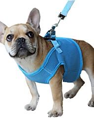 Недорогие -Кошка Собака Ремни Поводки Регулируется / Выдвижной Дышащий Безопасность Однотонный Сетка Черный Лиловый Красный Синий Розовый