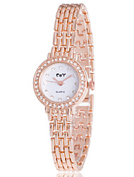 baratos -Mulheres Bracele Relógio / Relógio de Pulso / Simulado Diamante Relógio imitação de diamante Lega Banda Casual / Fashion / Elegante Prata / Ouro Rose / Um ano / Jinli 377