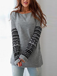 Women's Casual/Daily Simple Sweatshirt Print Round Neck Stretchy Cotton Long Sleeve Fall Winter