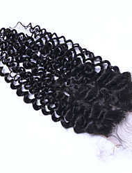 cheap -Top Quality Brazilian Human Hair Deep Curly Lace Closure 3.5x4 Inches Three Side Middle Free Part Afro Curly Human Hair Closure