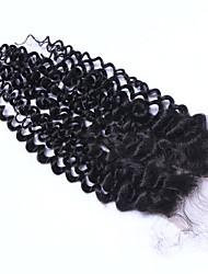 3.5x4 Fermeture Bouclé Cheveux humains Fermeture Brun roux Dentelle Suisse 60 gramme Moyenne Taille du Bonnet