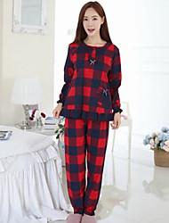 billige -Dame Bomuld Rund hals Pyjamas Ternet
