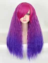 75cm Purple Ombre Long Kinky Curly Shaggy Women Synthetic Wigs Fashion Lolita Loose Curly Natural Hair Harajuku Style