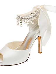 cheap -Women's Shoes Stretch Satin Spring Summer Heels Stiletto Heel Platform Peep Toe Crystal Pearl for Wedding Dress Party & Evening Ivory