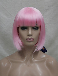 cheap -Synthetic Wig Straight Bob Haircut With Bangs Pink Women's Capless Carnival Wig Halloween Wig Cosplay Wig Short Medium Synthetic Hair