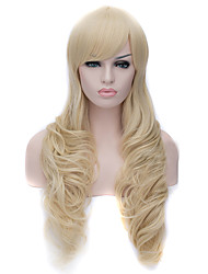 cheap -Synthetic Wig Curly / Deep Wave Asymmetrical Haircut Synthetic Hair Natural Hairline Golden / Blonde Wig Women's Long Cosplay Wig Capless