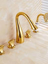 antichi TI-PVD cinque fori tre maniglie Cascata Vasca da bagno rubinetto con doccetta