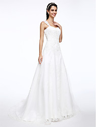 cheap -A-Line Straps Court Train Satin Tulle Wedding Dress with Beading Appliques by LAN TING BRIDE®