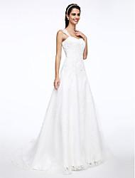 abordables -Corte en A Correas Corte Satén / Tul Vestidos de novia hechos a medida con Cuentas / Apliques por LAN TING BRIDE®