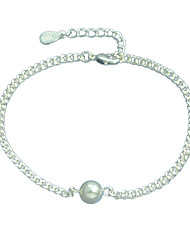 925 Silver Wide Chain Anklets with Imitation Pearl