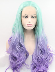 cheap -Sylvia Synthetic Lace front Wig Green to Blue Heat Resistant Long Natural Wave Ombre Synthetic Wigs