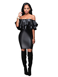 Women's Casual/Daily / Club Sexy / Simple PU Layered Bodycon DressSolid Boat Neck Above Knee Short Sleeve  Spring / Fall Mid Rise