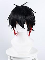 Cosplay Perücken Cosplay Cosplay Schwarz Rot Kurz Anime Cosplay Perücken 38 CM Hitzebeständige Faser