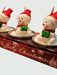 cheap -Christmas Candle Cute Snowman Shape 3Pcs
