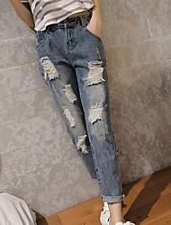 preiswerte -Damen Mittel Baumwolle Solide Einfarbig Shredded Legging