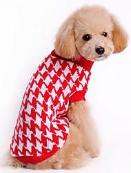 baratos -Gato Cachorro Súeters Natal Roupas para Cães Fofo Casual Riscas Preto Vermelho Ocasiões Especiais Para animais de estimação