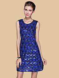 Women's Formal/Party Sexy/Street chic Sheath Dress Embroidered Round Neck Above Knee Sleeveless Polyester All Seasons