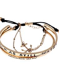 Vintage Alloy Words Pattern Anchor Adjustable Bangle Bracelet Set-Antique