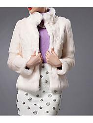 economico -Cappotto di pelliccia Da donna Casual Inverno Semplice,Tinta unita Pelliccia di coniglio Blu / Rosso / Bianco Manica lunga