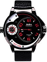 Oulm Pánské Náramkové hodinky Křemenný Hodinky s dvojitým časem Pravá kůže Kapela Cool Běžné nošení Luxusní Černá Černá Červená Modrá