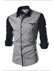 baratos -Homens Camisa Social - Trabalho Moda de Rua Sólido / Estampa Colorida Algodão Delgado / Manga Longa