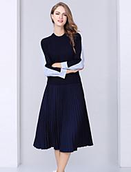 Feminino Conjunto Saia Suits Casual Simples Outono,Listrado Azul Poliéster Decote Redondo Manga Longa